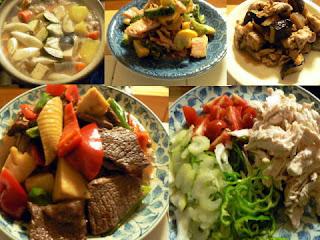 豚野菜汁 牛野菜炒め ゴーヤとベーコン炒め 鶏サラダ
