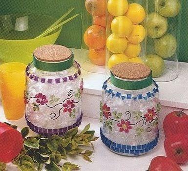 Manualidades frascos decorados lodijoella for Decoracion de frascos de vidrio para cocina