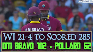 WI 21-4 to Scored 285 - West Indies vs South Africa 9th Match Tri-Nation Series 2016 Highlights