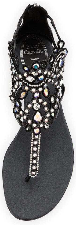 Rene Caovilla  Crystal-Chandelier Thong Sandal, Black