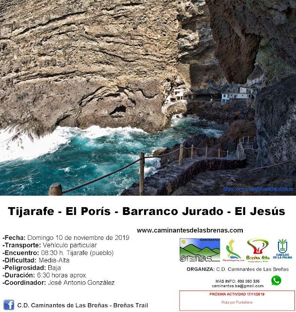 Caminantes de Las Breñas, Domingo 10 de Noviembre: Tijarafe-El Porís-Barranco Jurado-El Jesús