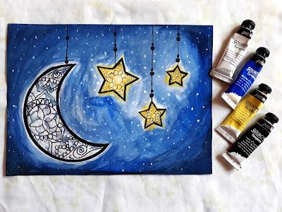ماندالا بسيطة على الهلال والنجوم