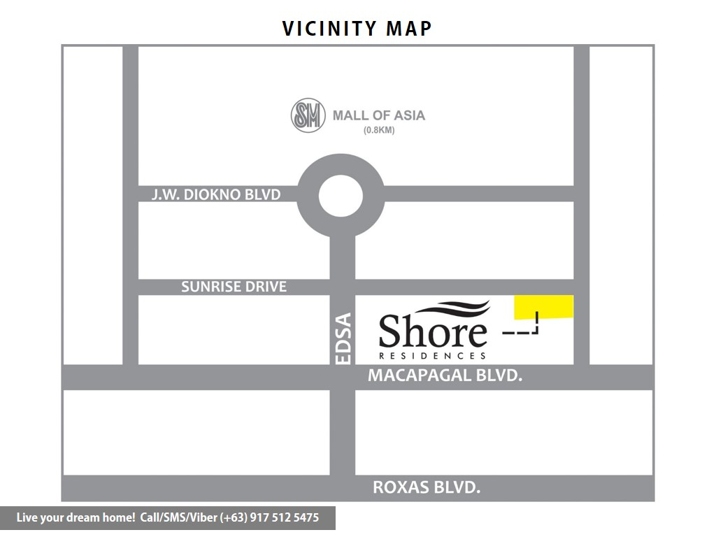 Vicinity Map - SMDC Shore Residences - 1 Bedroom With Garden | Condominium for Sale SM Mall of Asia Pasay