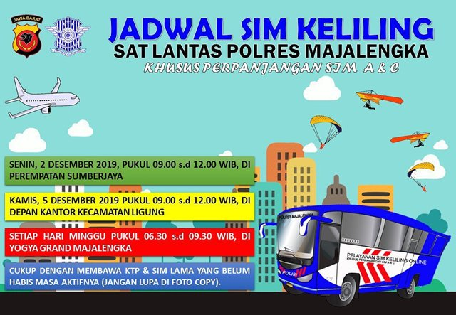 Jadwal Lengkap SIM Keliling Majalengka Bulan Desember 2019-IGsatlantasmjlk