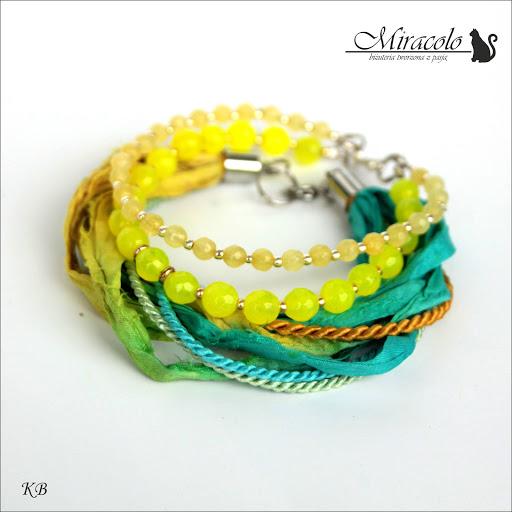 Miracolo, bransoletka z jadeitów, sari, jedwab, jade bracelet
