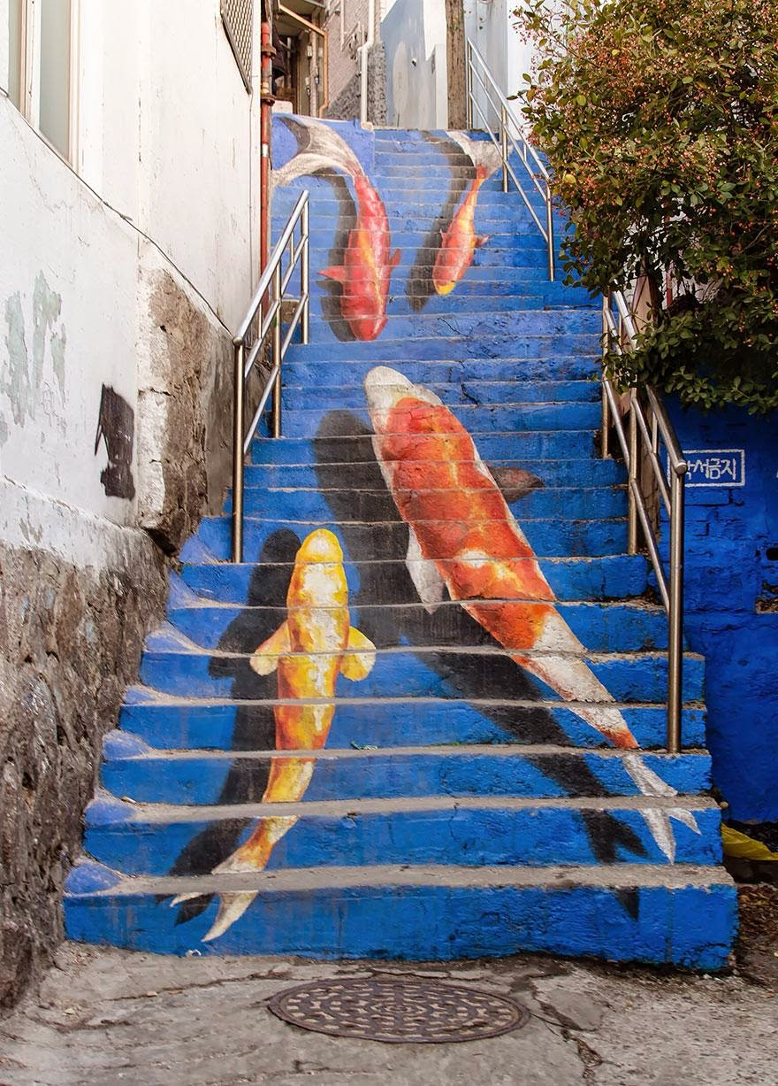 5. Seoul, South Korea - 17 Beautifully Painted Stairs From All Over The World. #7 Is Insane!