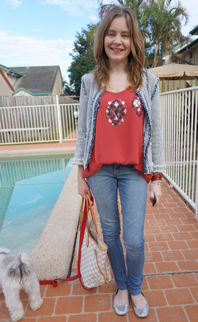 Away From Blue Casual Friday Zara Tweed jacket jeanswest sequin embellished tank skinny jeans