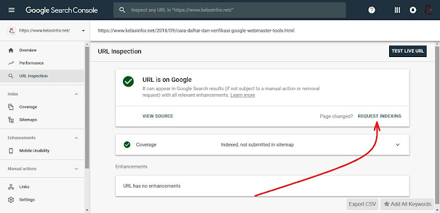Kelas Informatika - Request Indexing Google Search Console