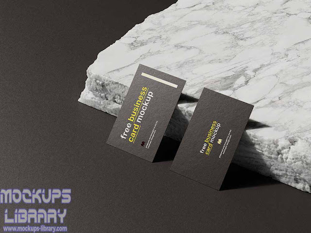 marble stone business card mockup
