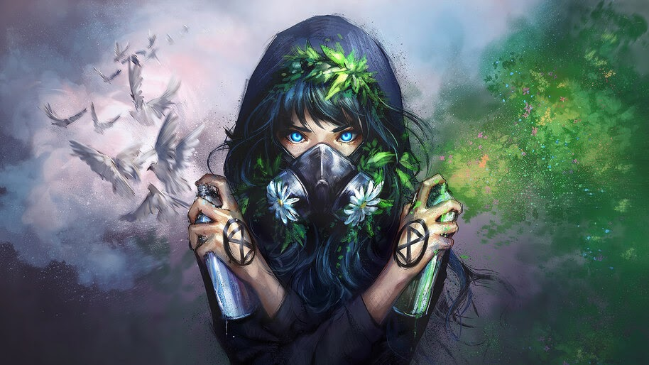 Anime Gas Mask Fantasy 4K Wallpaper #266