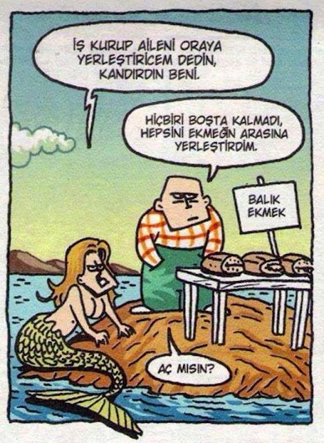 balık ekmek karikatür