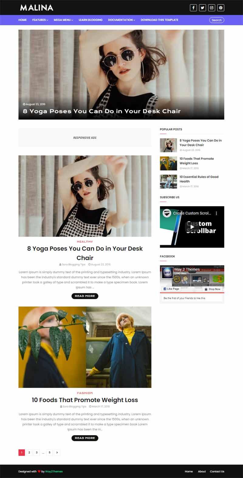 Malina Beauty Blogger template