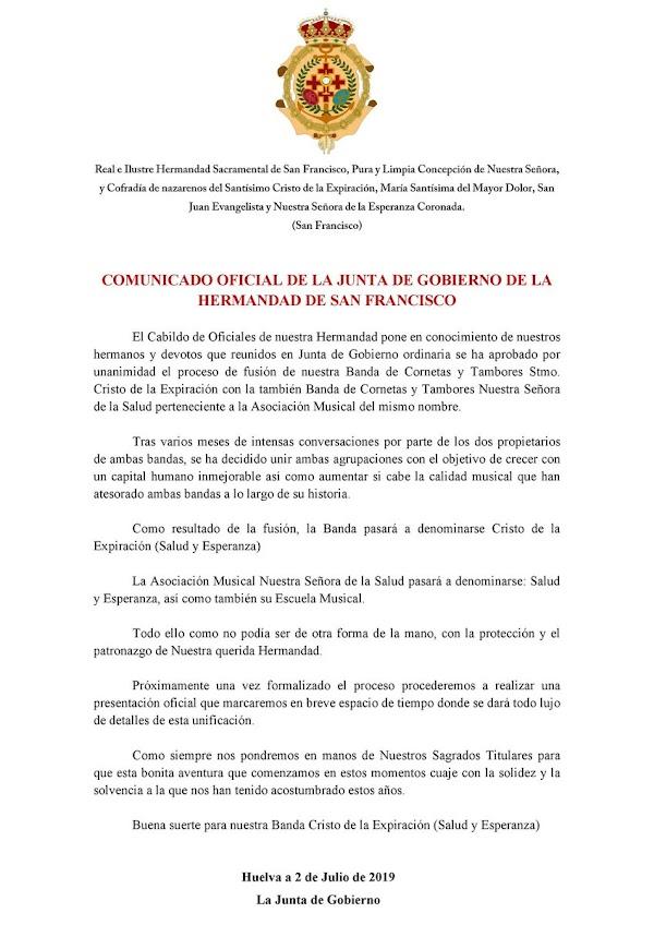 Fusión en Huelva de la CCTT Cristo de la Expiración y la CCTT Nuestra Señora de la Salud