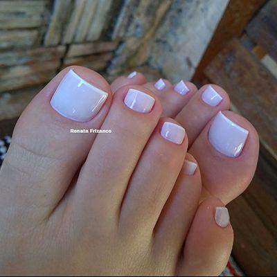 unha do pé francesinha esmalte branco