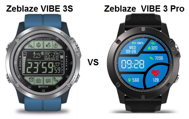 Zeblaze VIBE 3S VS VIBE 3 Pro Smartwatch Comparison