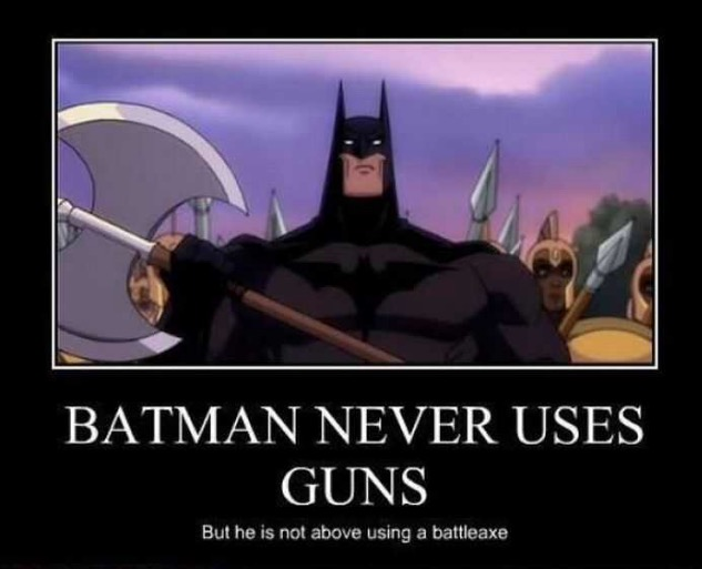 Batman using a Battleaxe