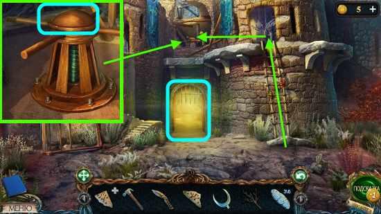 ставим лестницу и поднимаем решетку в игре затерянные земли 3