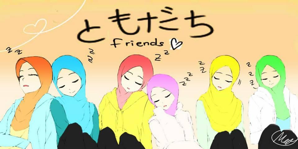Gambar Kartun Muslimah Persahabatan 6 Orang