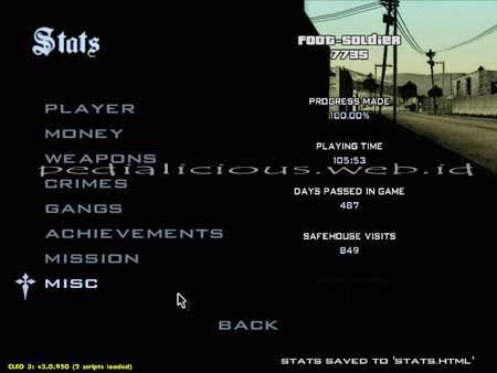 Criminal rating Grand Theft Auto San Andreas Stats