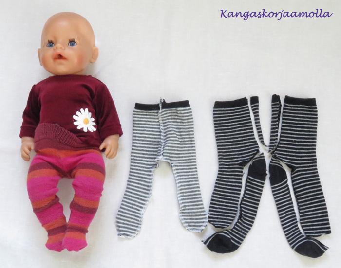 Ompele Baby Born nukelle sukkahousut