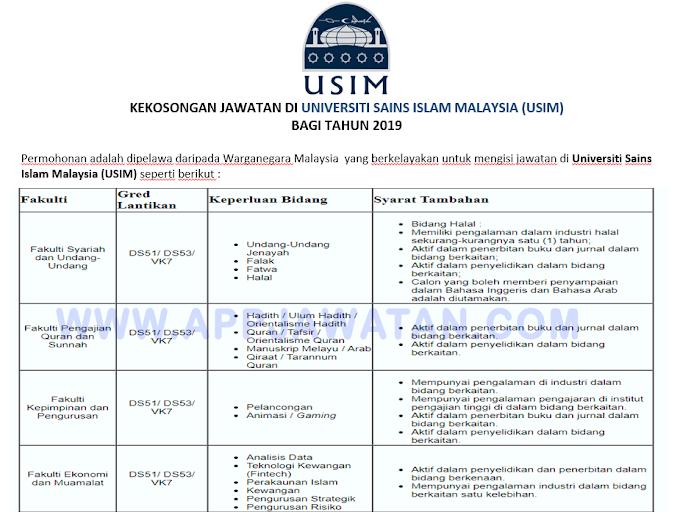 Jawatan Kosong Terkini di Universiti Sains Islam Malaysia (USIM).