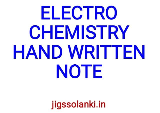 ELECTROCHEMISTRY NOTE BY KOTA CLASS NOTE