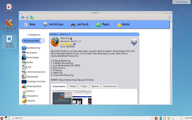 Mozilla Firefox Installed in AppCafe