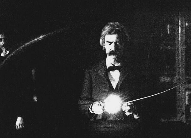 Mark Twain in the laboratory of Nikola Tesla, early 1894