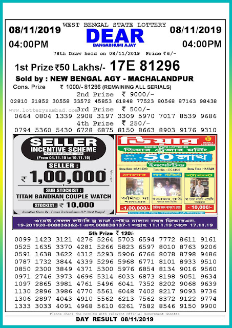 Sambad lottery 08-11-2019 West Bengal State Lottery Result 04.00 PM-lotterysambadresults.com