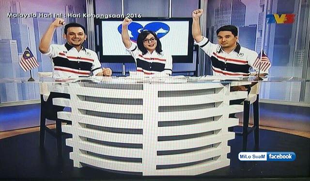 Pengacara TV3 dan RTM pakai baju bendera Thailand ketika liputan Hari Kebangsaan 2016 yang lepas?