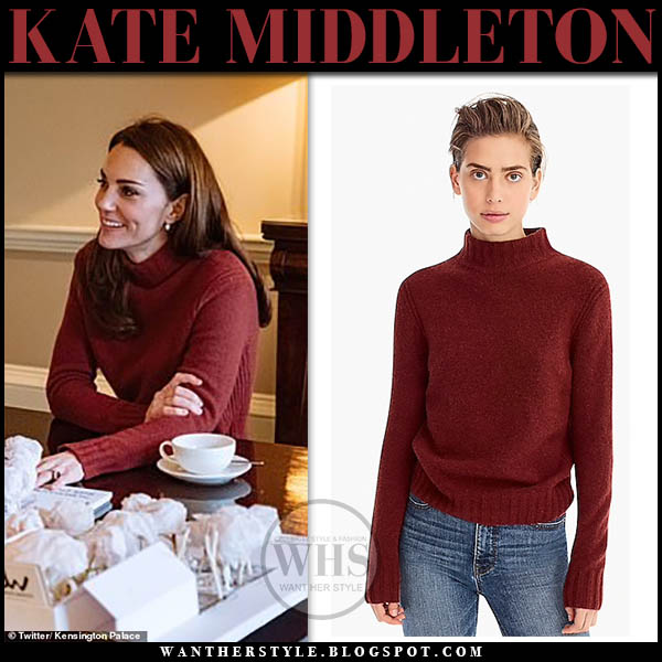 Kate Middleton Duchess of Cambridge wears burgundy knit turtleneck sweater j. crew casual home style february 2019