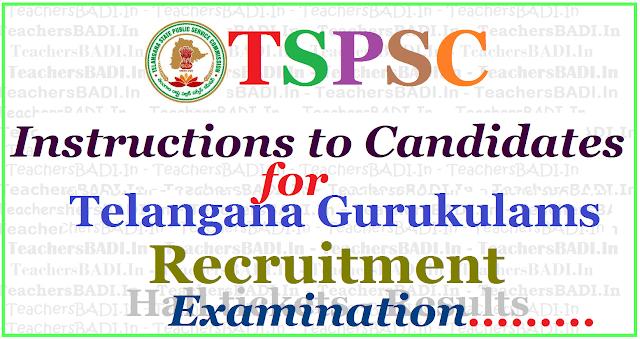 Tspsc Gurukulams Teachers recruitment exam,instructions,Candidates