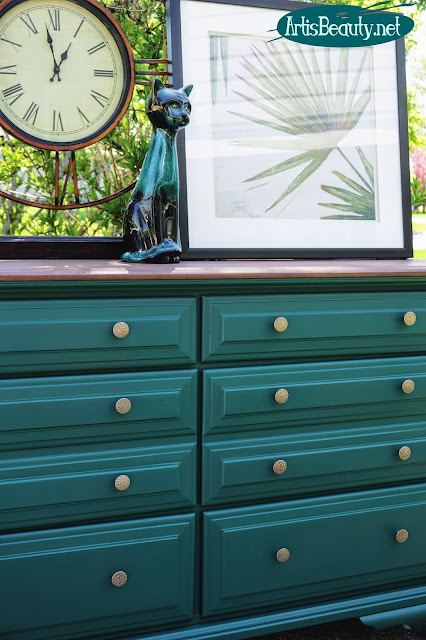 Vintage long dresser makeover using general finishes milk paint in westminster green and gel stain in mahogany diy before and after