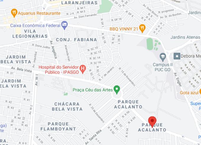 Parque Acalanto sem mapa no Google