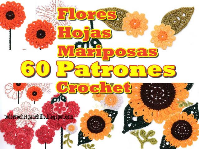 60 patrones de flores para tejer al crochet