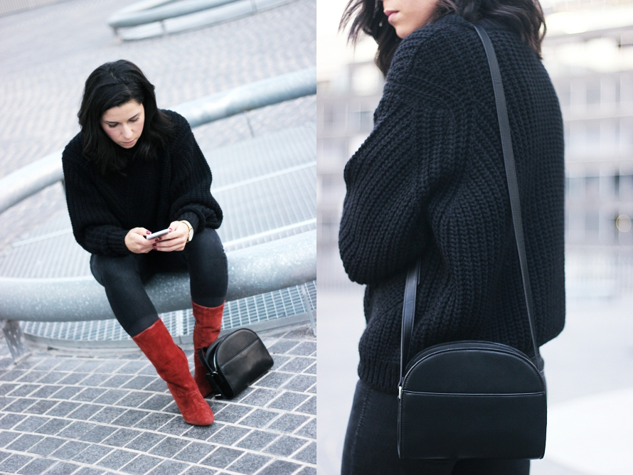 BIMBA Y LOLA KNIT SWEATER AND SUEDE BOOTS
