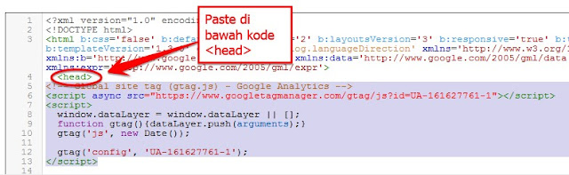 memasang kode javascript google analytic