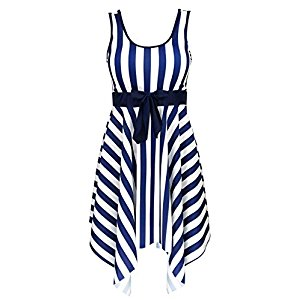 Women's One Piece Sailor Striped Bathing Suit Plus Size Cover up Swimdress