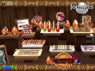 Chocolate passion Clutters Шоколадная страсть для The Sims 4 Не нужно ждать определенного события для шоколада. Здесь Шоколадная страсть. с этими деликатесами. Украсьте свои интерьеры. Или используйте эти сладости. Для вашего магазина. шоколадные конфеты и пирожные, продавать индивидуально. Используйте объект bb.moveobjects, чтобы поместить конфеты в пустую доску, например, в магазин конфет. - шоколадный шарик - шоколадный шарик 2 - шоколадный рулетик небольшой торт - пустая доска, поднос - круглая коробка для шоколада - круглая коробка для шоколада - другое чувство - шоколадная коробка квадратная - шоколадная кружка - шоколадный маленький прямоугольник 1 - шоколадный маленький прямоугольник 2 - шоколадный маленький круглый пирог - деко шоколадных яиц Автор: jomsims