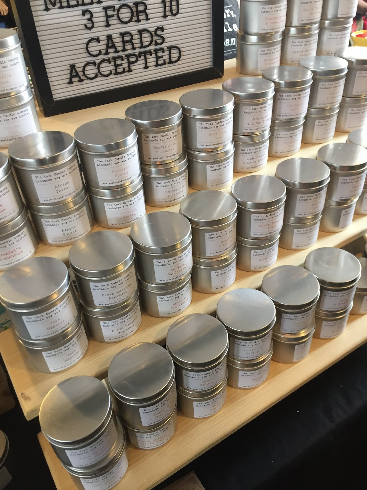 York Candle Company at Northern Craft- a shelf full of candles