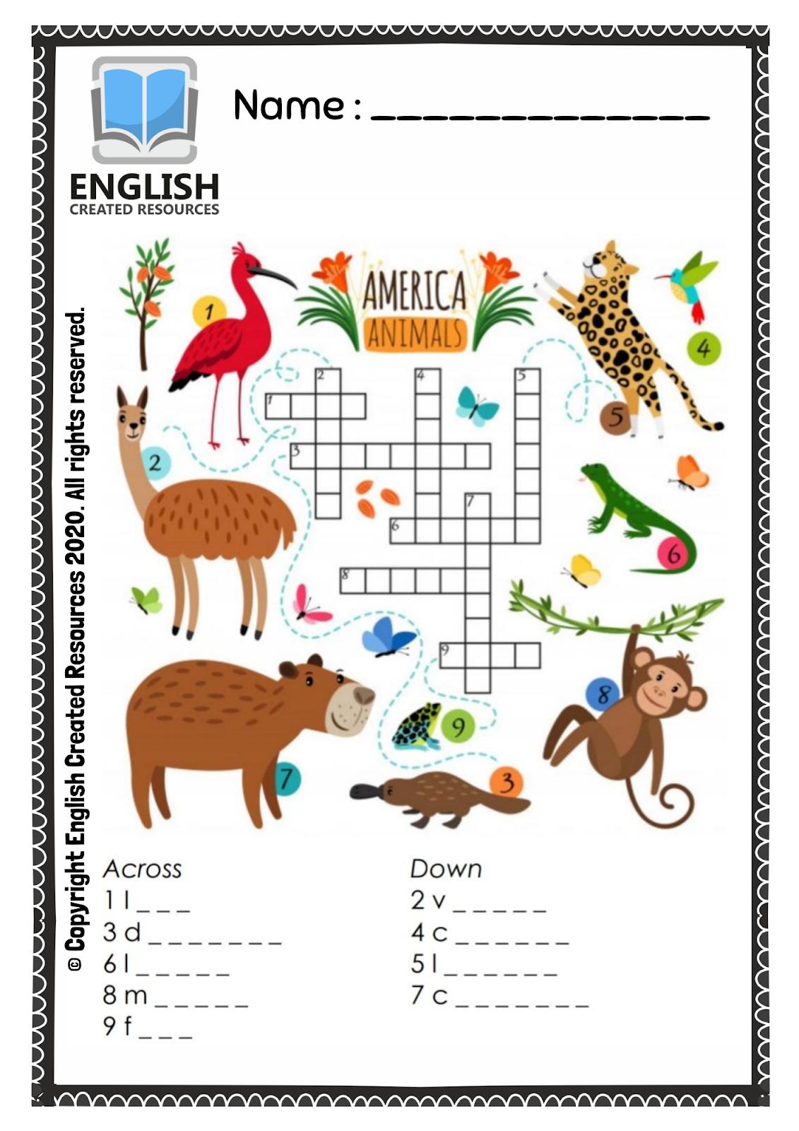 Kindergarten Crossword Worksheets Animals
