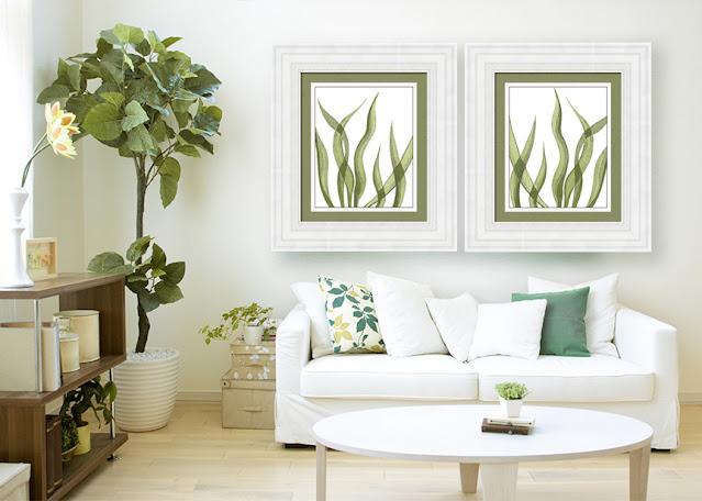 Seaweed watercolor paintings in interior decor artist Irina Sztukowski