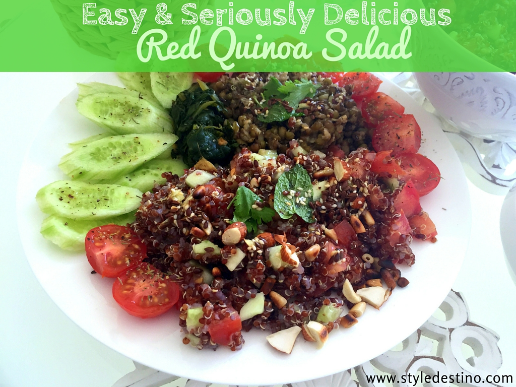 Red Quinoa Salad - Vegan Quinoa Recipe - Vegan Recipes - Easy Quinoa Style Destino