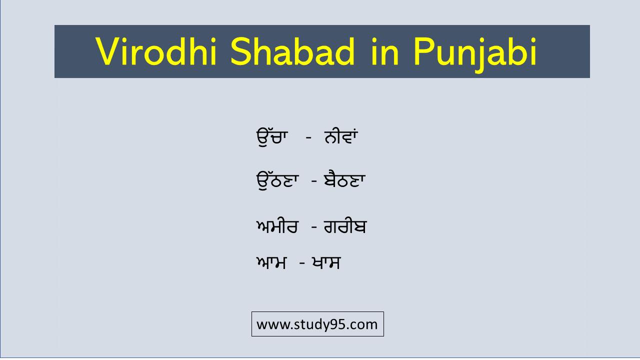 Opposite words in Punjabi