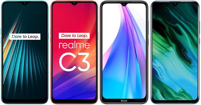Realme 5i vs Realme C3 vs Xiaomi Redmi Note 8T vs Honor 20e