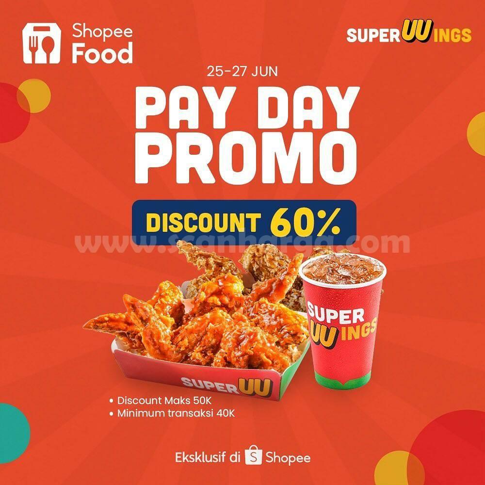 Promo SUPERWINGS PAYDAY DISKON 60% Bareng SHOPEEFOOD