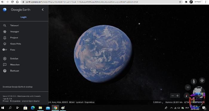 melihat bumi dengan google earth web, website anti gabut, jalan jalan virtual