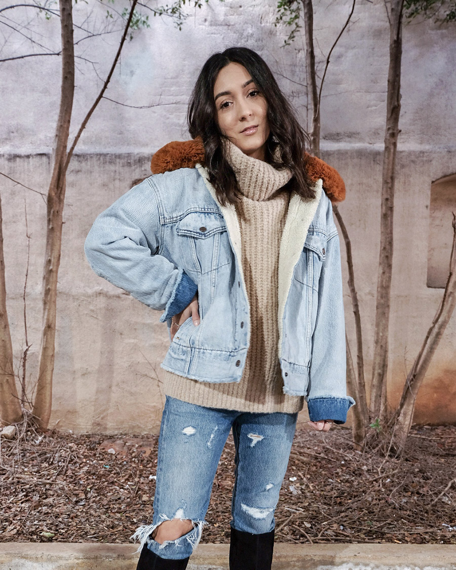 levis killing me softly denim jacket, levis oversized sherpa trucker jacket