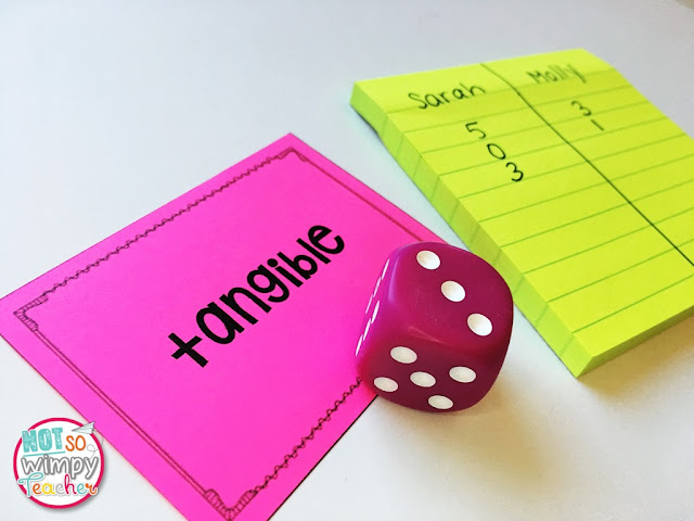 The rolling words vocabulary game only requires a die, and cards with either a vocabulary word or its definition.
