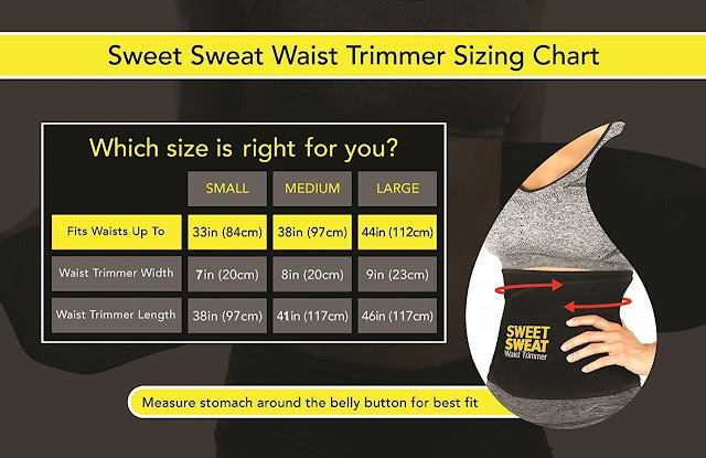 sweet sweat waist trimmer size chart
